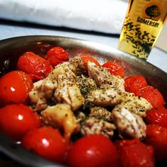 - chicken, cheery tomato - herbal solt, pepper, olive oil