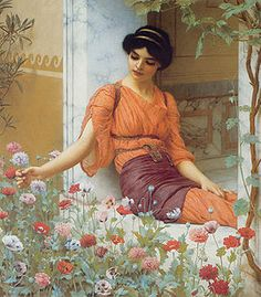 "John William Godward (1861-1922) ""Summer Flowers"" , I painted this painting for art class once, just love his work, he's not so well known but should be!"