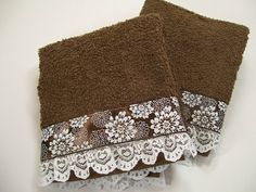 Hand Embellished Guest Hand Towel Set Bath Brown Lace Chrysanthemum Trim Hostess Gift Bathroom Home Decor Decorative Hand Towels, Sewing Crafts, Sewing Projects, Bathroom Towel Decor, Kitchen Hand Towels, Lace Decor, Hand Towel Sets, Guest Towels, Bath Towels