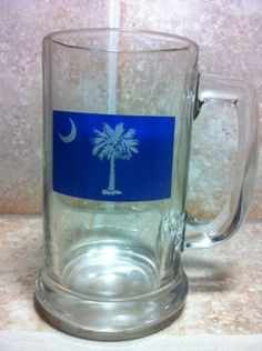South Carolina State Flag Glass Beer Stein / Mug