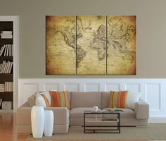Large Canvas Print Vintage Map of the World by ExtraLargeWallArt