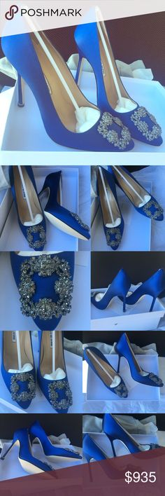 """Manolo Blahnik Hangisi Satin wedding Pumps, Blue Manolo Blahnik authentic """"Hangisi"""" 115mm satin evening/wedding pump, cobalt blue retail $965+tax 4.5"""" covered stiletto heel. Crystal buckle adorns pointed toe. Low-cut vamp visually lengthens leg. Topstitched collar. Leather lining and sole. Made in Italy.Multiple size available  Manolo Blahnik Hangisi usually runs small. suggest to order a half size larger than you typically wear.   New in box with dust bag. 100% authentic, original receipt…"""