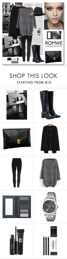 """""""Romwe Knit Black Sweater"""" by ludmyla-stoyan ❤ liked on Polyvore featuring Borghese, Marc by Marc Jacobs, Laura Geller, Mark's Tokyo Edge, Albertus Swanepoel, StreetStyle, black, Sweater and romwe"""