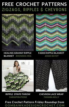 Zigzag crochet patterns are also called ripples, chevrons and waves. This post includes a variety of free patterns for crocheted zigzag wearables, jewelry, shawls and household décor!