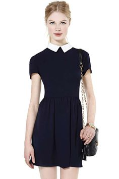 SheIn offers Navy Contrast Collar Short Sleeve Split Dress & more to fit your fashionable needs. Casual Dresses For Women, Cute Dresses, Short Sleeve Dresses, Prom Dresses, Summer Dresses, Golas Peter Pan, Dress Outfits, Dress Up, Dress With Shorts