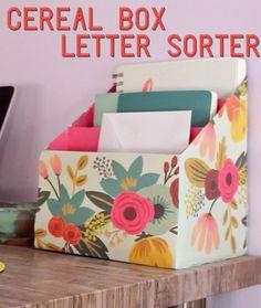 Cereal box letter sorter https://www.facebook.com/buzzfeednifty/videos/1710107392577319/