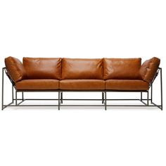 Stephen Kenn Encounter Leather Sofa - Brown Leather & Antique Brass ($8,900) ❤ liked on Polyvore featuring home, furniture and sofas
