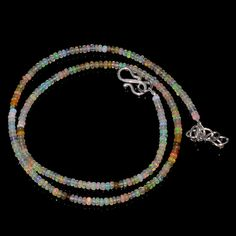 "24CRTS 3MM 18"" ETHIOPIAN OPAL RONDELLE BEAUTIFUL BEADS NECKLACE OBI1674 #OPALBEADSINDIA"