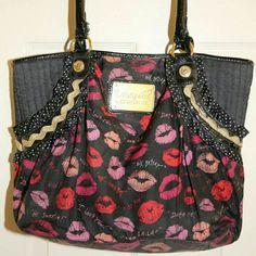 Betsey Johnson handbag Kisses and lips, lipstick kisses, ok condition, loved. Betsey Johnson Bags Shoulder Bags
