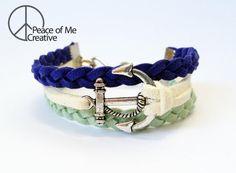 Layered Cobalt Blue and Mint Anchor Bracelet