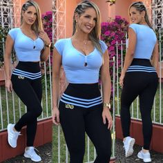 Cropped Laço Azul Bebê Cute Workout Outfits, Workout Attire, Cute Outfits, Tops For Leggings, Sports Leggings, Workout Leggings, Estilo Fitness, Gymnastics Outfits, Nylons And Pantyhose