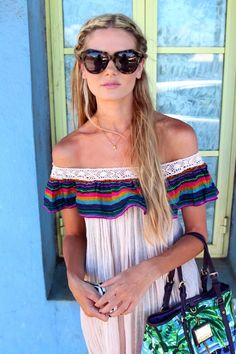 off the shoulder. love the hair.