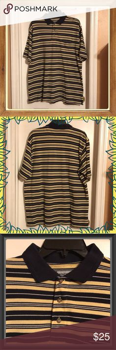 """Like New WINDHAM POINTE MEN'S POLO SHIRT SZ LG Purchased for my husband hoping he would wear it going to a restaurant instead of a Tee Shirt, it didn't happen. Worn once for approximately 1/2 an hour. Navy Blue Collar, 3 Button up with a chest pocket. I believe it's Black, Yellow & White striped but the Black or could be a dark Navy Blue & White stripes. It's 24"""" across from Armpit to Armpit and 29""""L in front from Shoulder down & 30""""L in back from Shoulder down. Has little slits in bottom…"""