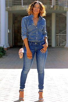 The right way to do an all denim outfit.