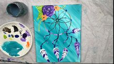 art painting Learn how to paint with Tracie Kiernan! This step by step acrylic painting tutorial will show you how to paint a dreamcatcher using simple painting techniques for beginners. Simple Canvas Paintings, Easy Canvas Painting, Diy Canvas Art, Diy Painting, Painting Flowers, Painting With Stencils, How To Paint Canvas, Easy Acrylic Paintings, Cute Easy Paintings