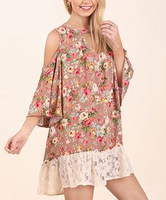 Taupe Floral Cold-Shoulder Shift Dress by ruth