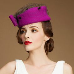 Elegance bow pillbox hat with veil for women