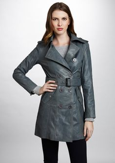 BOD & CHRISTENSEN Double-Breasted Belted Leather Trench