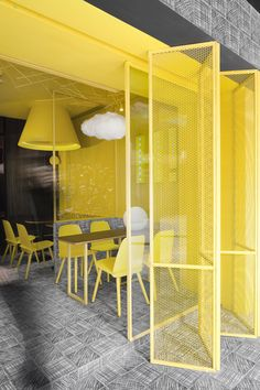 construction union designs café based on childhood doodles construction union has designed an eye-catching interior for the hi-pop tea restaurant in china, defined by nostalgia inducing scribbles. Restaurant Interior Design, Commercial Interior Design, Office Interior Design, Commercial Interiors, Office Interiors, Shop Interiors, Interior Styling, Design Café, Cafe Design