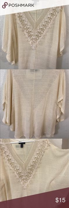 Forever 21 Dolman Blouse Beautiful Embroidered detail around the neck. Dolman like sleeves for a spacious and comfortable fit. Never worn and new without tags. Perfect condition. Loose flowy fit. Everything is pre washed before shipping unless NWT. Let me know if you have any questions! Remember, 10% off when you Bundle 2 items or more! 💸 Forever 21 Tops Blouses