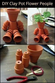 Stylish and functional, these Clay Pot Flower People are adorable additions . Stylish and functional, these Clay Pot Flower People are adorable additions to your garden! Flower Pot Art, Flower Pot Design, Clay Flower Pots, Flower Pot Crafts, Painted Flower Pots, Clay Pots, Clay Pot Projects, Clay Pot Crafts, Diy Clay
