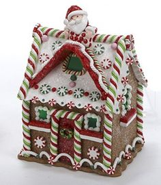 Gingerbread Kisses Decadent LED Lighted House with Santa Christmas Decoration - Holiday Figurines Cool Gingerbread Houses, Gingerbread House Designs, Gingerbread House Parties, Gingerbread Decorations, Christmas Gingerbread House, Christmas Candy, Christmas Treats, Christmas Cookies, Christmas Holidays