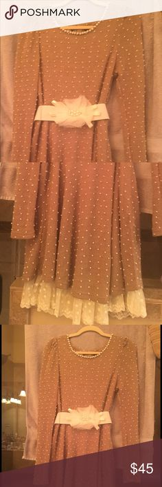 Taupe dress with pearl neckline and lace trim Bought this at a boutique and wore it once. Dresses Midi