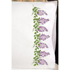 """Stamped Pillowcase Pair For Embroidery 20""""X30""""-Wisteria"""