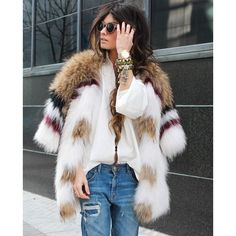 MULTI COLORED FAUX FUR COATS THE NEXT BIG THING ❤ liked on Polyvore featuring outerwear, coats, fake fur coats, imitation fur coats and faux fur coats