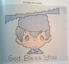 Boy grad frame plastic canvas pattern 3--3