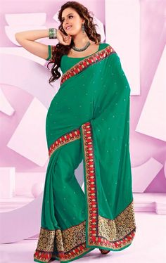 Picture of Delightful Jade Green Party Wear Saree