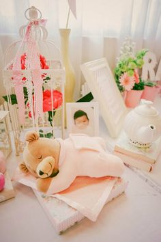 Memorabilia Table: Props and Styling by Something Pretty Manila Photo by Sugarpuff Photography  #shabbychic #pinkandwhite