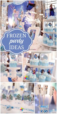 Check out this lovely Frozen party, with an amazing dessert table, decorations and cupcakes Frozen Princess Party, Frozen Themed Birthday Party, Disney Frozen Party, 4th Birthday Parties, 3rd Birthday, Winter Princess, Birthday Ideas, Festa Party, Party Party