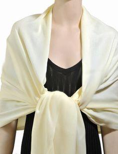 Elegant Pashmina Shawl - Off White Club Pashmina. $32.99