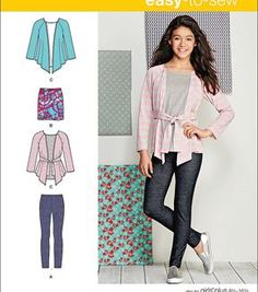 Simplicity Patterns Us1025Aa-Simplicity Knit Separates For Girls' And Girls' Plus-8-10-12-14-16
