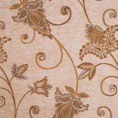 This is a polyester blend golden chenille with a loose gold woven floral and paisley pattern. Great for Upholstery.