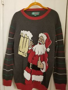24654bf19 Men's Preowned Ugly Christmas Sweater Santa/Beer Pullover Sweater Size  Large #UglyChristmasSweater #Pullover
