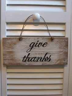 give thanks wood sign Thanksgiving autumn fall by TheRusticRaven, $15.00