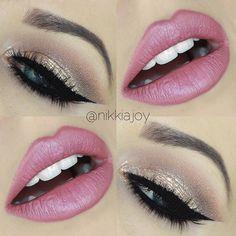 shimmery eye & pink lips  ~  we ❤ this! moncheribridals.com #weddingmakeup