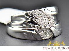 10K White Gold Men Women His Her Real Diamond Trio Bridal Wedding Ring Band Set