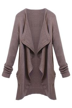 ROMWE Asymmetric Pocketed Long Sleeves Brown Cardigan
