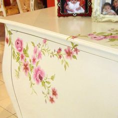 Painted Furniture on white Credenza, just romantic