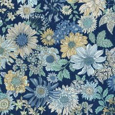 Memoire A Paris 2017 Large Navy flowers - basic cotton lawn fabric collection by Lecien - New Additions Cotton Lawn Fabric, Cotton Quilting Fabric, Navy Flowers, Large Flowers, Textiles, Shaved Cat, Impression Textile, Summer Quilts, Thing 1