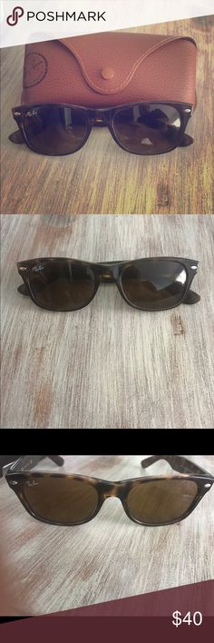 Ray-Ban Wayfarers Brown Ray-Bans, no polar lenses. Small wear and tear on frames, but no scratches on lenses. Comes with pictures case. Ray-Ban Accessories Sunglasses