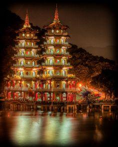 The Dragon and Tiger Pagodas . Kaohsiung, Taiwan