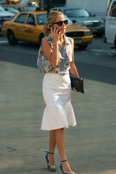 Marina Larroude... love her white skirt!