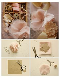 Lovely diy flowers with tulle & chiffon from http://www.projectwedding.com/