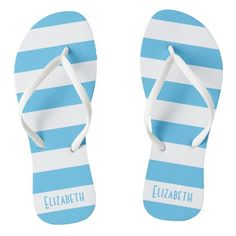 #ad Personalized Flip Flops, Blue And White, Slip On, Sandals, Color, Style, Fashion, Swag, Moda
