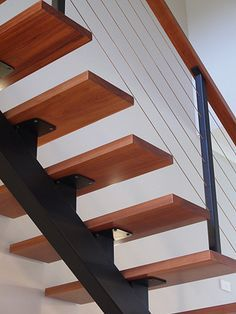 steel stringer wood tread stair - Google Search