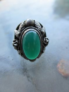 Vintage Antique Sterling Chrysoprase Ring 7.5 by PaisleyBabylon
